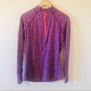 Purple Athletic Half-Zip Long Sleeve Top